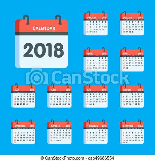 Calendar for 2018 year icon set  Vector illustration