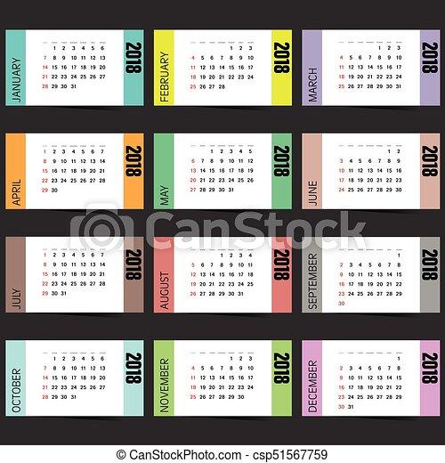Calendar For 2018 Year Organizer Illustration On Dark Background