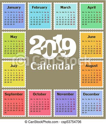 Calendar For 2019 A Calendar Template For A Year 2019 Vector