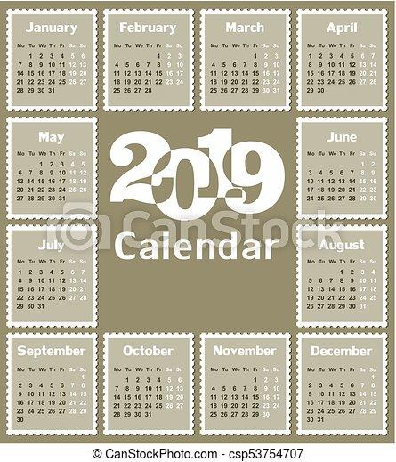 Calendar For 2019 A Calendar Template For A Year 2019