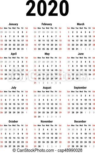 Vector De Calendario 2020.Calendar For 2020