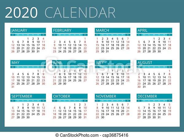 Calendario 2020 Editable Illustrator.Calendar For 2020 Week Starts Sunday Simple Vector Design