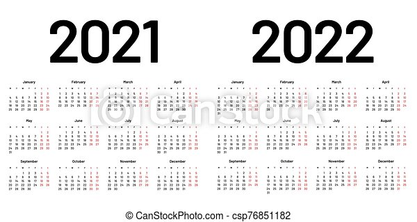 2022 Week Calendar.Calendar For 2021 And 2022 Year Week Starts On Monday Calendar For 2021 And 2022 Year In Clean Minimal Style Week Starts Canstock