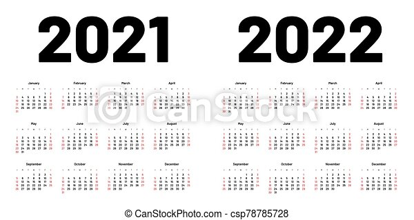 2022 Week Calendar.Calendar For 2021 And 2022 Year Week Starts On Sunday Calendar For 2021 And 2022 Year In Clean Minimal Style Week Starts Canstock