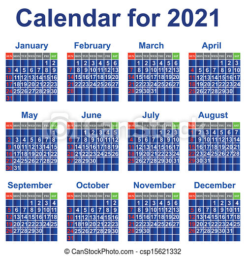 Calendar for 2021 year. Calendar, event, personal organizer ...
