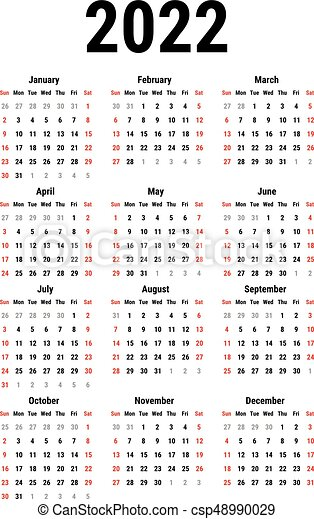 2022 Calendar Clipart.Calendar For 2022 Year On White Background Week Starts Sunday Simple Vector Template Stationery Design Template Canstock