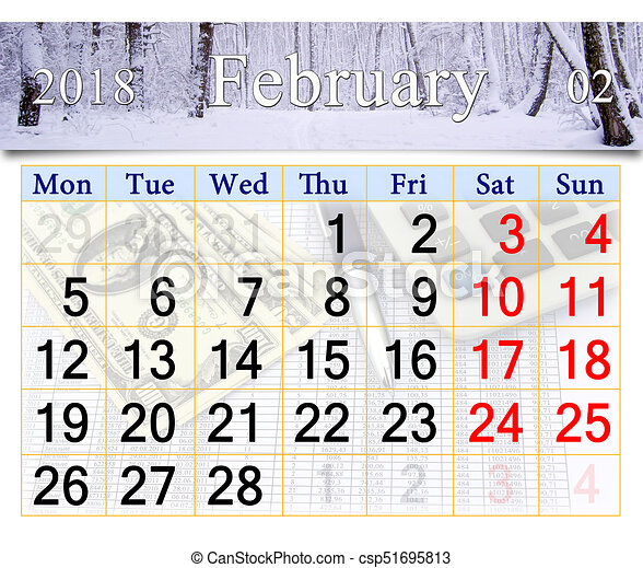 Calendar for february of 2018 with winter landscape.... clipart ...