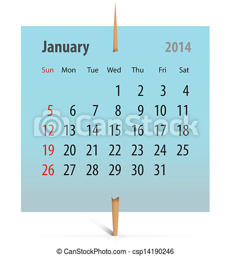 Calendar for January 2014 - csp14190246