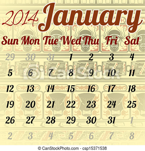 Calendar for January in the African style - csp15371538