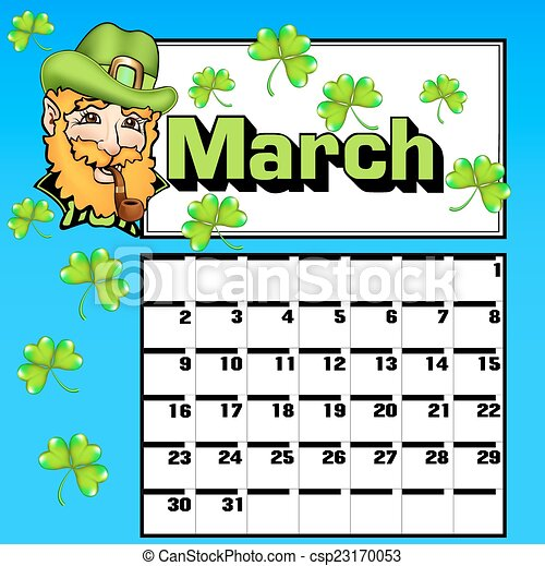 calendar for March St. Patrick's Day shamrock hat - csp23170053