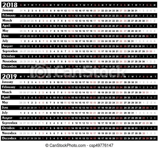 Calendar For Year 2018 2019 A Calendar Template For A New Eps