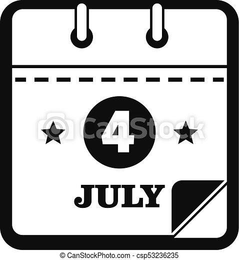 calendar fourth july icon simple black style calendar eleventh