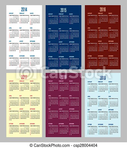 calendar grid for 2014, 2015, 2016, - csp28004404