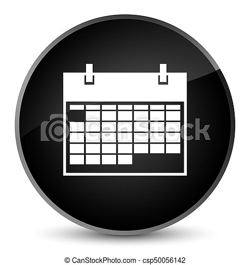 Calendar icon elegant black round button - csp50056142