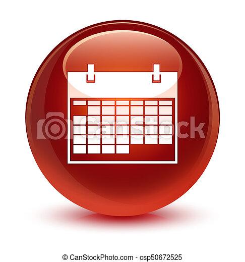 Calendar icon glassy brown round button - csp50672525