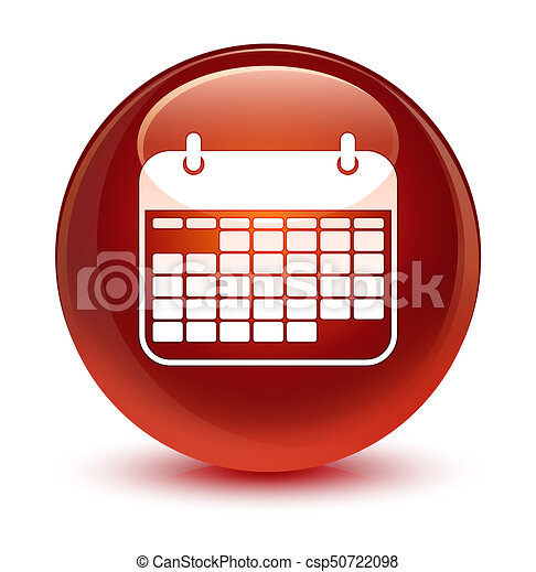 Calendar icon glassy brown round button - csp50722098