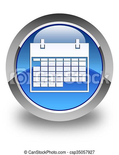 Calendar icon glossy blue round button 2 - csp35057927