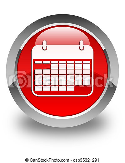 Calendar icon glossy red round button - csp35321291