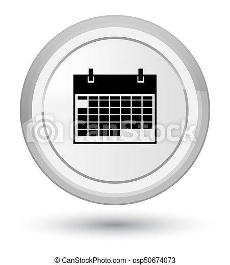 Calendar icon prime white round button - csp50674073