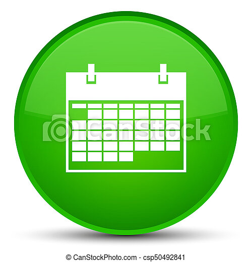 Calendar icon special green round button - csp50492841