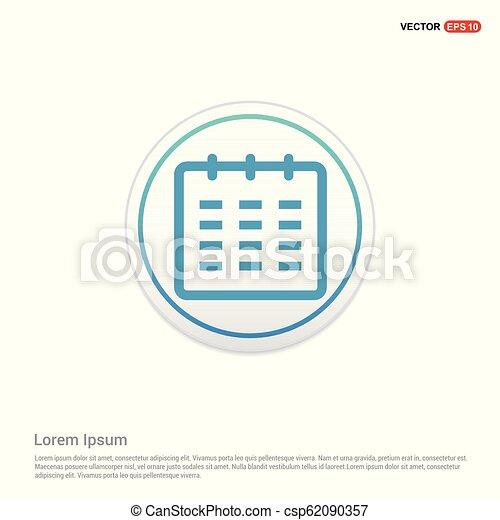 calendar icon - white circle button - csp62090357