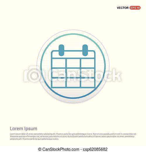 calendar icon - white circle button - csp62085682