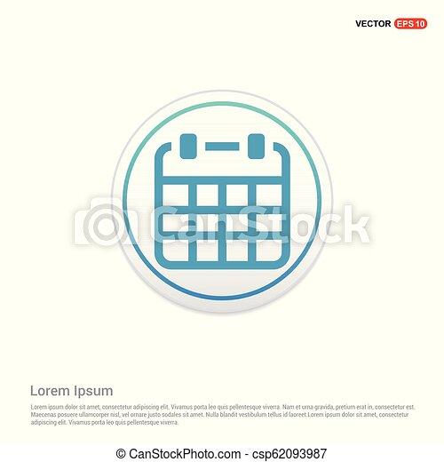 Calendar Icon - white circle button - csp62093987
