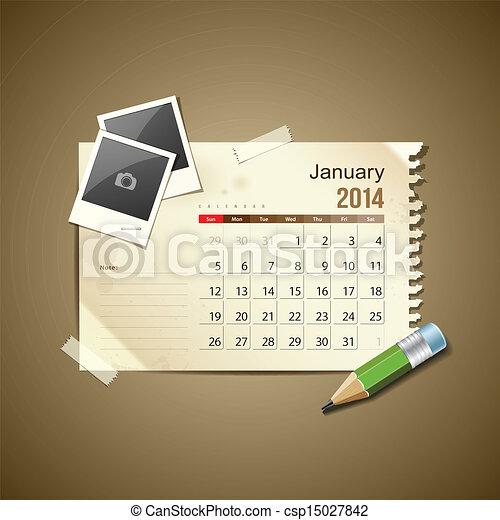 Calendar January 2014 - csp15027842