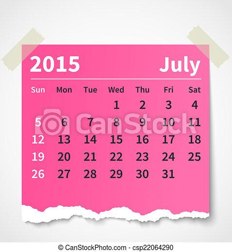 Calendar July 2015 Colorful Torn Paper Vector Illustration