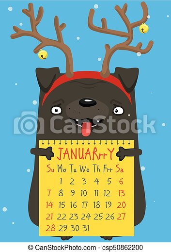 Calendar month January 2018. A cute New Year pug with deer ...