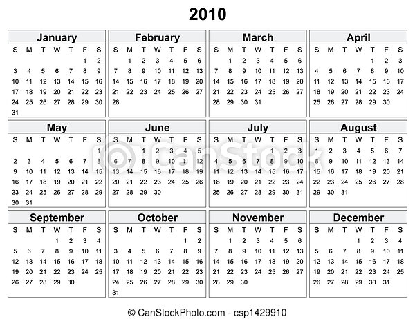 Stock Illustration of Calendar of 2010 year. Days of week ...