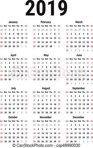 Calendar of 2019 - csp48990030