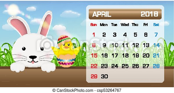 Calendar of april 2018 month bunny chick easter.