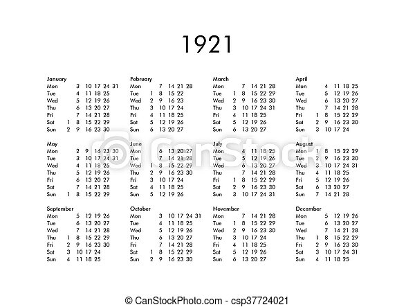 Calendario 1921.Calendar Of Year 1921 Vintage Calendar Of Year 1921 With