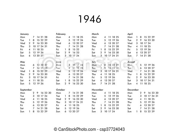 Calendar of year 1946. Vintage calendar of year 1946 with all ...