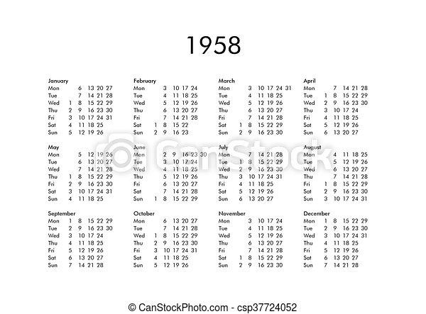 Calendario 1958.Calendar Of Year 1958