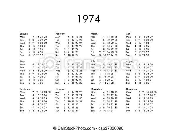 Calendario 1974.Calendar Of Year 1974