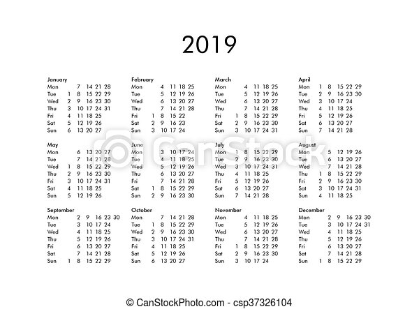 calendar of year 2019 csp37326104