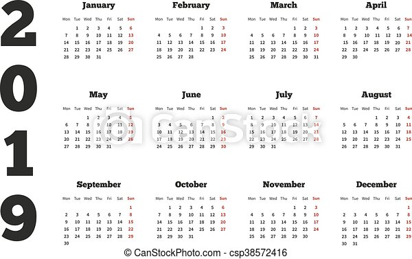calendar on 2019 year with week starting from monday a4 sheet csp38572416