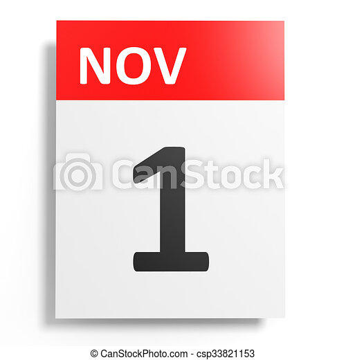 Calendar on white background. 1 November.  - csp33821153