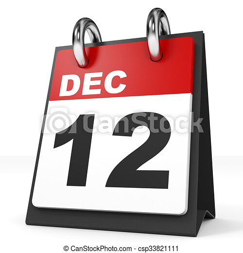 Illustration Calendrier.Calendar On White Background 12 December