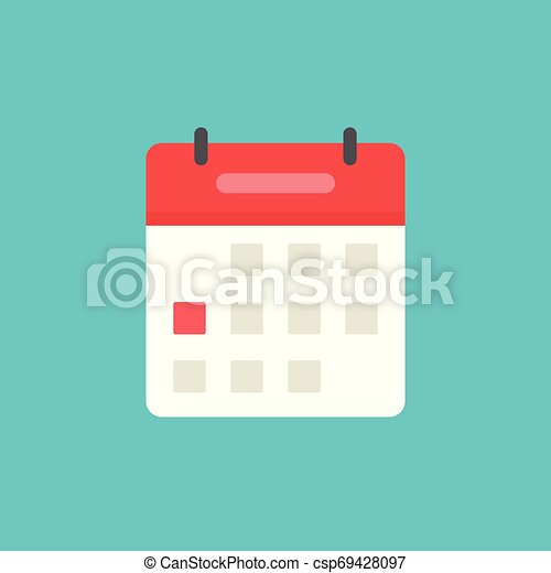 Calendar or agenda icon vector, flat cartoon schedule symbol with red date selected isolated on white background clipart - csp69428097