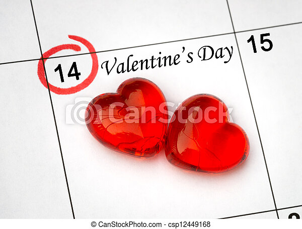 Calendar page with the red hearts on February 14 of Saint Valentines day.  - csp12449168