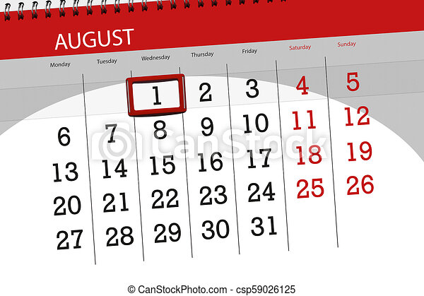 Calendar planner for the month, deadline day of the week, 2018 august 1,  Wednesday