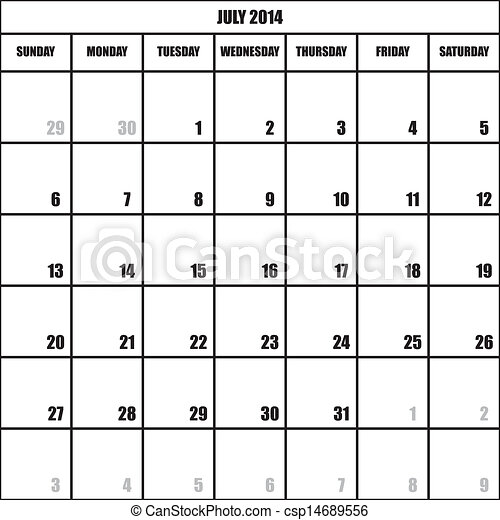 month of july calendar
