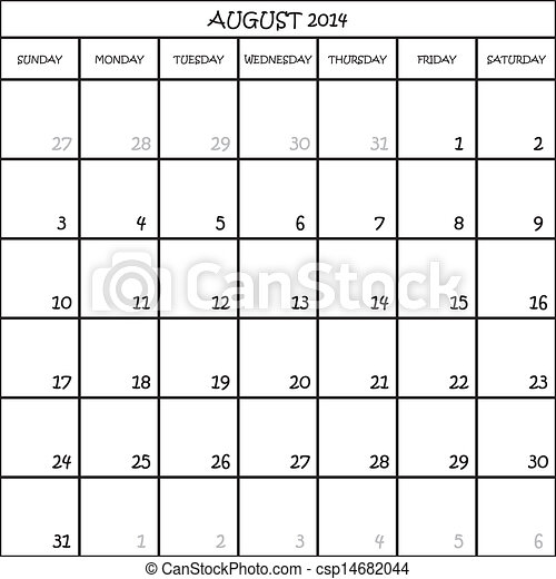 CALENDAR PLANNER MONTH AUGUST 2014 ON TRANSPARENT BACKGROUND - csp14682044