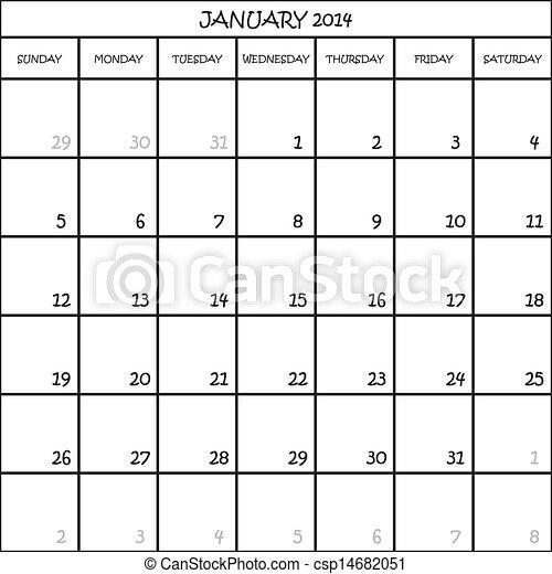 CALENDAR PLANNER MONTH JANUARY 2014 ON TRANSPARENT BACKGROUND - csp14682051