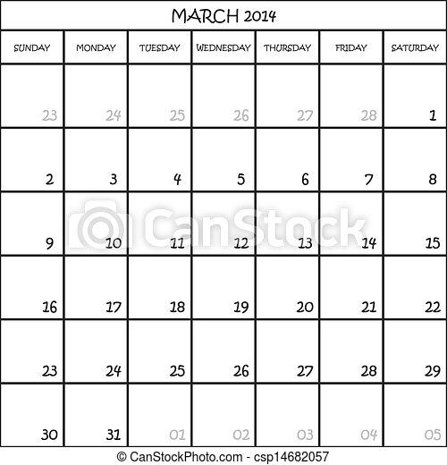CALENDAR PLANNER MONTH MARCH 2014 ON TRANSPARENT BACKGROUND - csp14682057