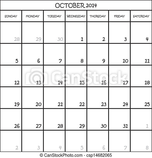 CALENDAR PLANNER MONTH OCTOBER 2014 ON TRANSPARENT BACKGROUND - csp14682065