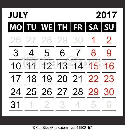 calendar sheet July 2017